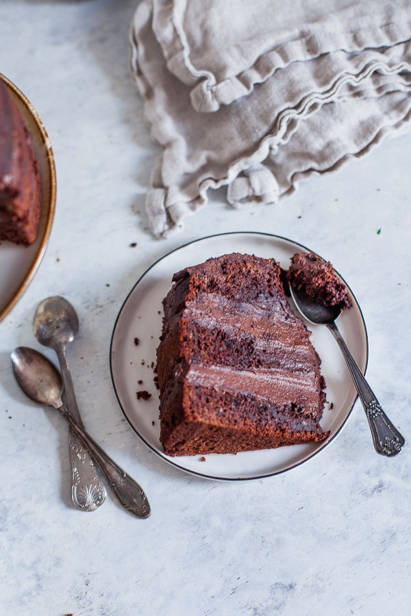 Vegan Chocolate Cake slice on a plate, Maja Brekalo