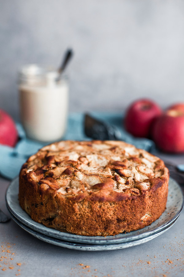 Apple and almond cake on a plate
