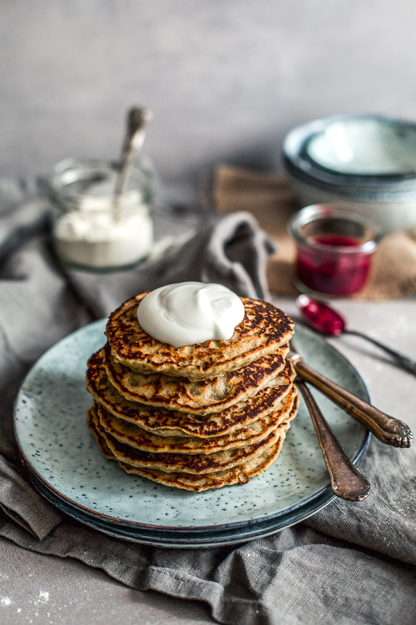 Rice Flour Pancakes with Homemade Raspberry Jam, vegan and refined sugar free, Maja Brekalo