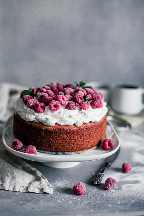 Vegan Sponge Cake with whipped cream and raspberries, gluten free, Maja Brekalo