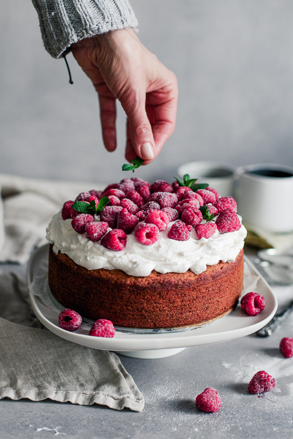 Vegan Sponge Cake with whipped cream and raspberries, gluten free, Maja Brekalo