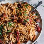 Super Simple Mushroom Pasta recipe, vegan, gluten free, Maja Brekalo