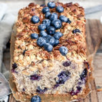 Blueberry Lemon Cake Loaf with cunchy granola topping