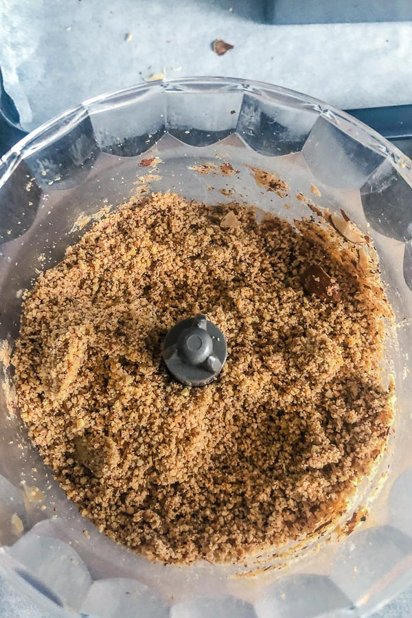 Ground hazelnuts in food processor