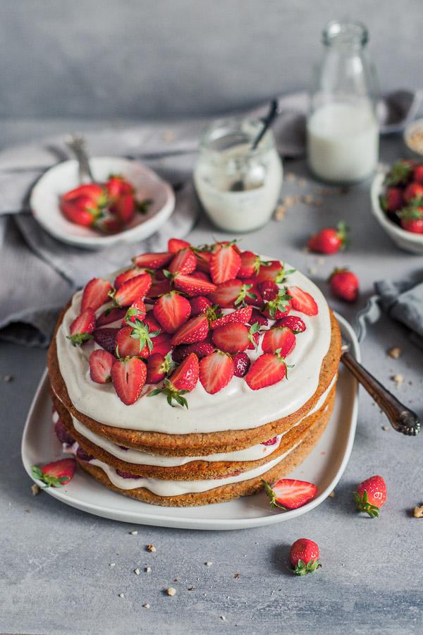 Vegan Strawberry Layered Cake with cashew vanilla frosting Maja Brekalo