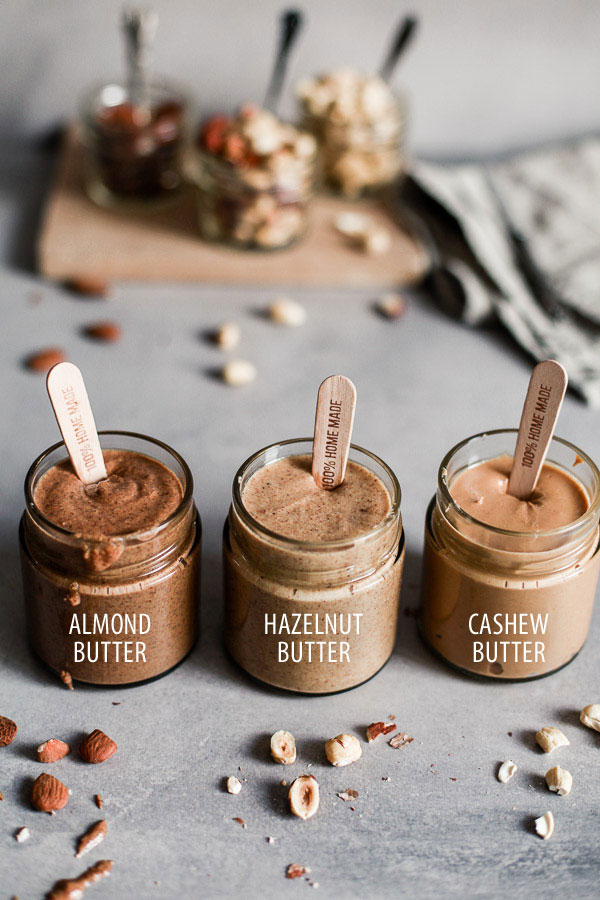 Almond, Cashew and Hazelnut Butters in labeled jars, Maja Brekalo