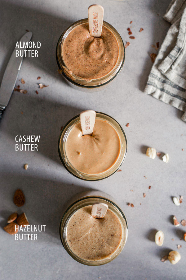 Almond, hazelnut and cashew butters in jars with labels, Maja Brekalo