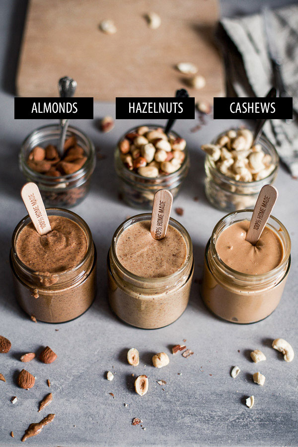 How to make nut butters, Almond, Cashew and Hazelnut Butters in jars, with labels on nuts, Maja Brekalo