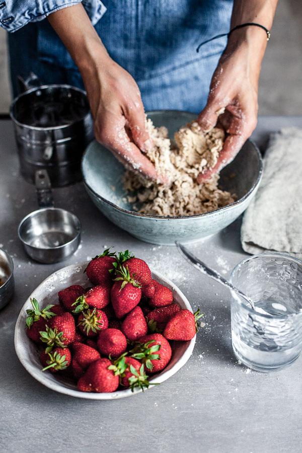 Making of strawberry galette,kneading the dough, Maja brekalo