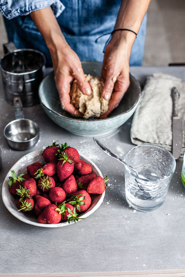 Making of strawberry galette, shaping the dough, Maja brekalo