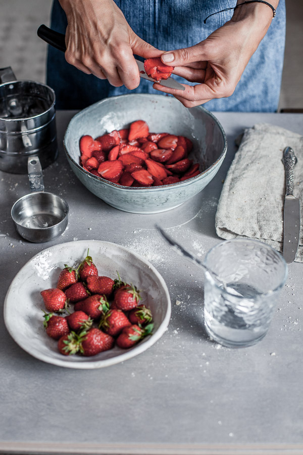 Making of strawberry galette, slicing the strawberries, Maja brekalo
