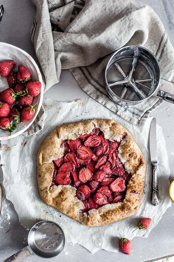 A strawberry Galette on a parchment paper, maja brekalo