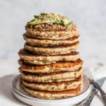 Fluffy vegan savory pancakes in a stack, Maja Brekalo